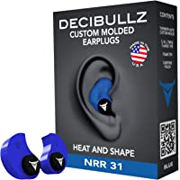 DecibullzTapones Moldeados Personalizados, 31db más Alto NRR, Confortable protección auditiva para Disparar, Viajes, natación, Trabajo y conciertos