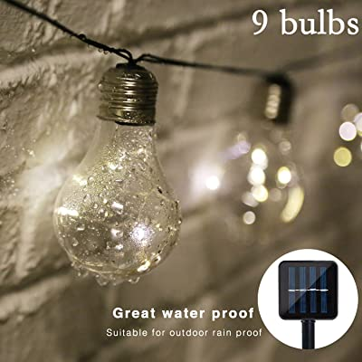 Isyunen Solar String Lights Outdoor Waterproof 14 FT Solar Outdoor String Lights LED Solar Powered String Lights Bulbs for Patio, Outdoor/Indoor Garden Home Holiday Decorations(Warm White) : Garden & Outdoor