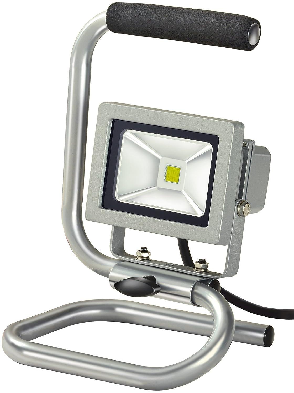 Brennenstuhl Mobile Chip-LED-Leuchte / LED Strahler innen und auß en (Auß enstrahler 10 Watt, Baustrahler IP65, LED Fluter Tageslicht) Farbe: silber 1171250123
