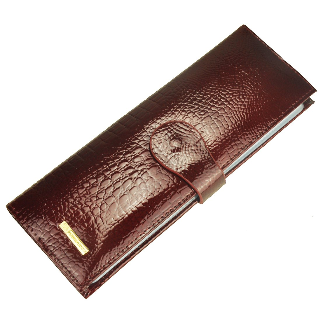 Women's Leather Credit Card Case Wallet Business Card holder Organizer 40 Card Slot (Wine Red-L)