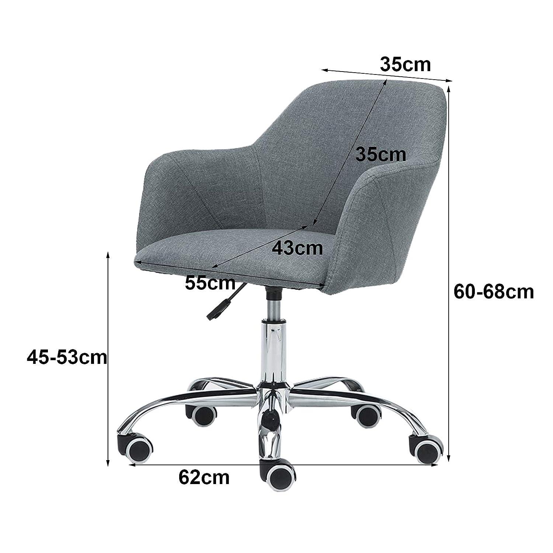 Kontorsstol, mellanrygg linne datorstol svängbar skrivbord uppgift stol, ergonomisk accentstol med armstöd, andningsbar vadderad sits Brun