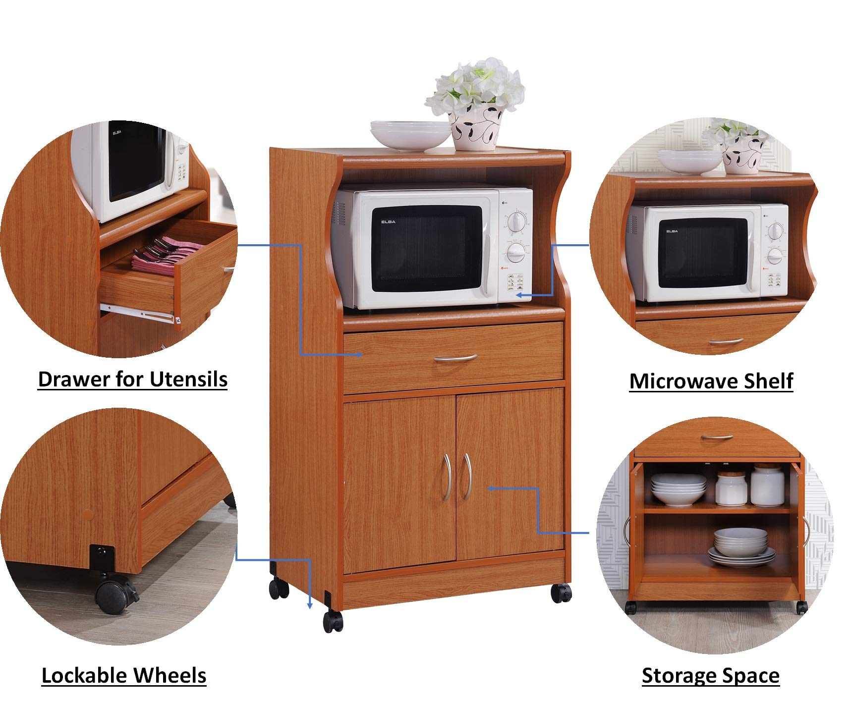 Hodedah Microwave Cart with One Drawer, Two Doors, and Shelf for Storage, Cherry by HODEDAH IMPORT (Image #6)