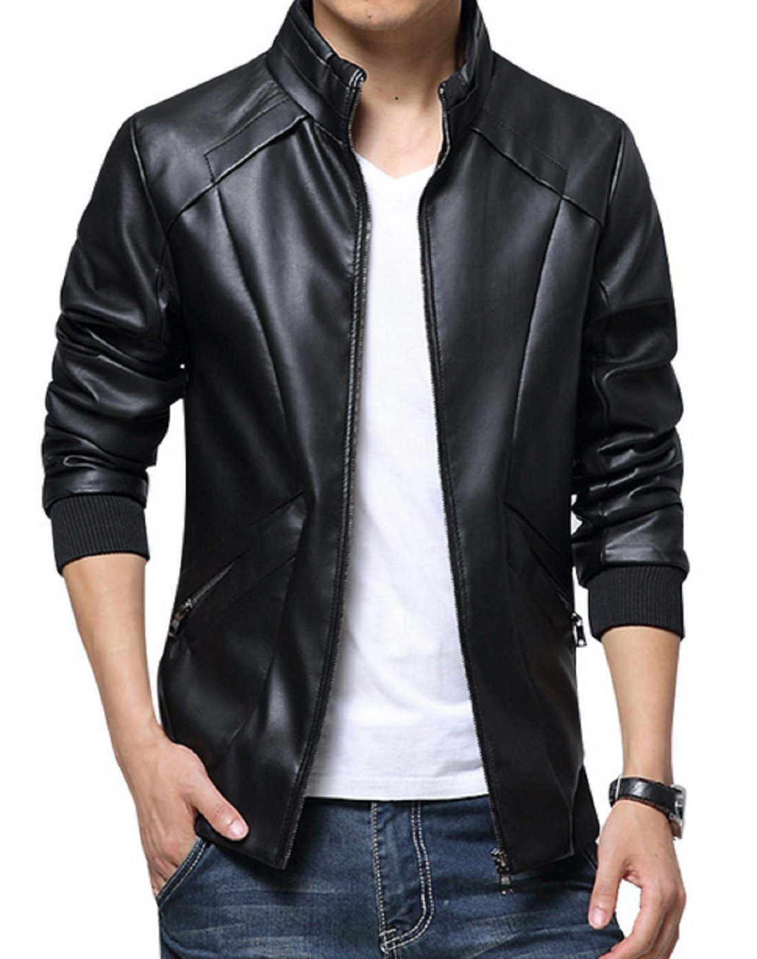 KIWEN Men's Stand Up Collar Faux Leather Jacket Slim Fit(Black,L size) by KIWEN