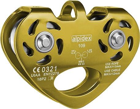 ALPIDEX Polea Doble Tandem Pulley - para Cuerdas Textiles con un diámetro de hasta 13 mm y para Cables de Acero de hasta 12 mm