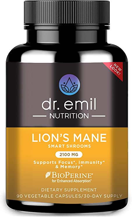 Dr. Emil Nutrition Organic Lions Mane Mushroom Capsule with Absorption Enhancers, Powerful Nootropic Brain Supplement and Immune Support with 100% Organic Lions Mane Extract, 30 Day Supply …
