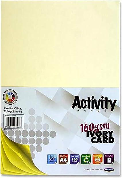 Premier papelería A4 160 gsm tarjeta de actividad – marfil (Pack ...