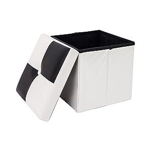 Rebecca SRL Repose-Pieds Pouf Blanc Noir Faux Cuir Contemprain Sejour Chambre à Coucher (Cod. RE4258)