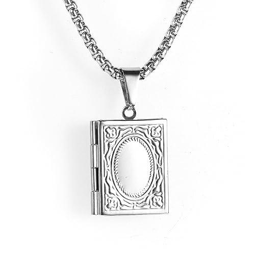 Beydodo Collar Colgante Libro Medallón Collar Mujer Hombre ...