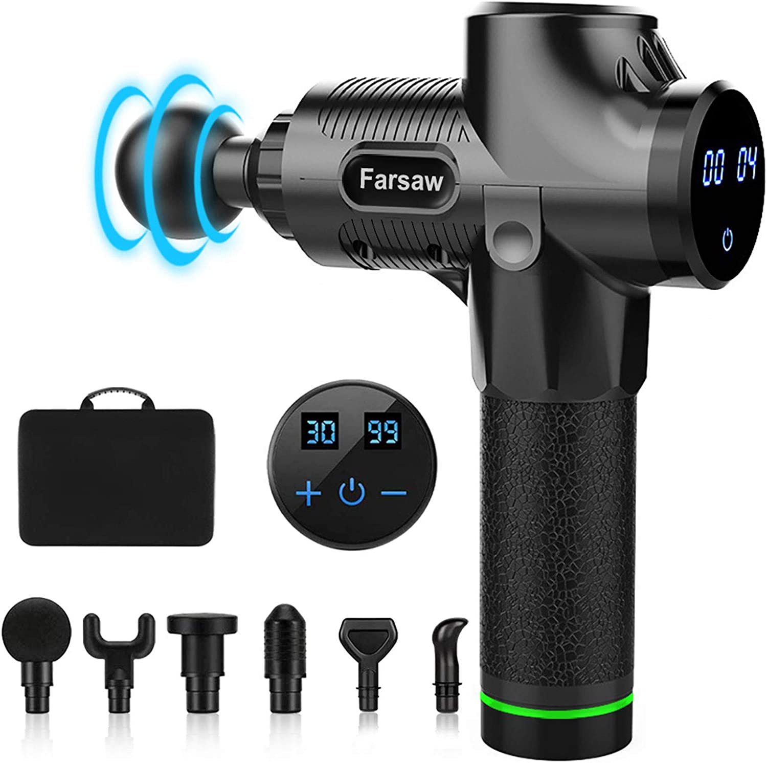 Massage Gun, Farsaw Deep Tissue Percussion Massager with 6 Heads, 30 Speeds Adjustable, 10 Hours Runtime, LED Display, Carrying Case Black