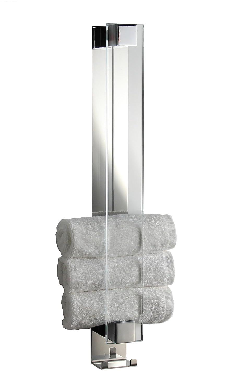 Gästetuchhalter mit Haken, Handtuchhalter für Gästetücher, Wandhalter, Glas+Chrom - Made in Germany -