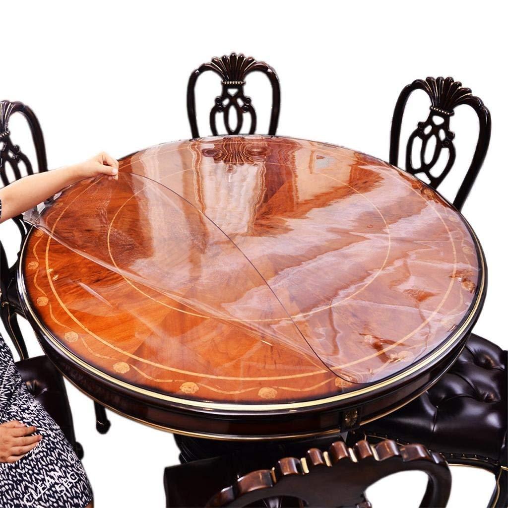 QYM ラウンドテーブルテーブルクロス防水とオイルフリーウォッシュpvc柔らかいガラステーブルマットパッドパッドクリスタルプレートホテルテーブルクロスコーヒーテーブルマット (Color : A)  A B07SCTJV3R