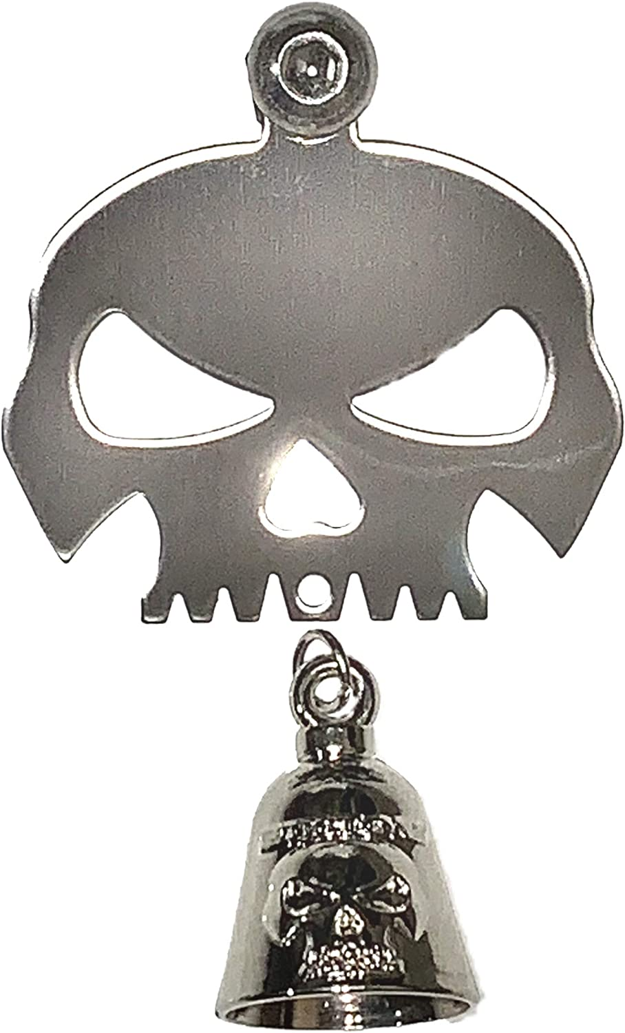 Bolt and Ring Included Fits all Harley Davidson Motorcycles /& More Proudly MADE IN THE USA! Chrome Bell Kustom Cycle Parts Universal Spider Web Skull Bell Hanger With Bell