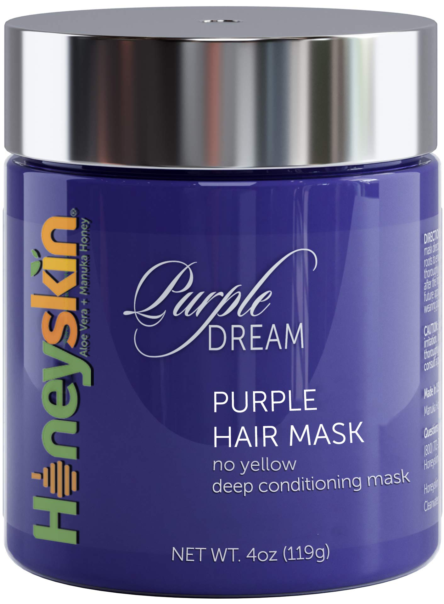 Purple Hair Mask for Blonde, Silver or Platinum Color - Sulfate Free - Deep Conditioning for Gray, Bleached, Highlighted and Color Treated Hair - Natural Blue Masque for Violet and Silver Tones (4oz) by Honeyskin
