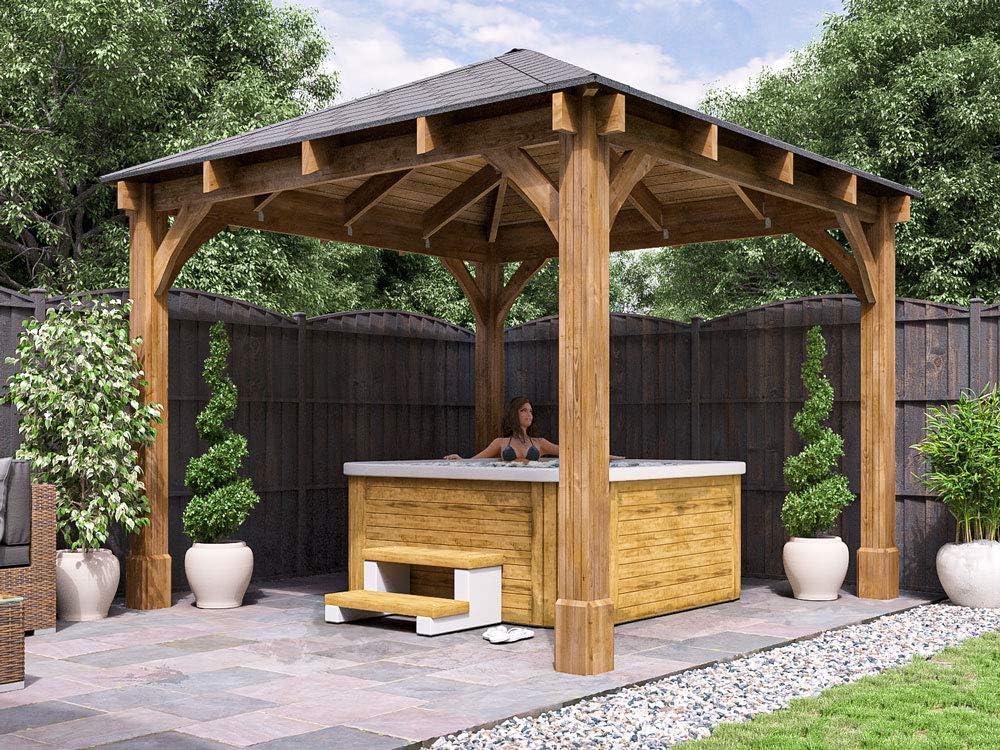Carpa de madera Altlas, de 3, 2 m de ancho x 3, 2 m de profundidad, permanente, para jardín, de Dunster House: Amazon.es: Jardín