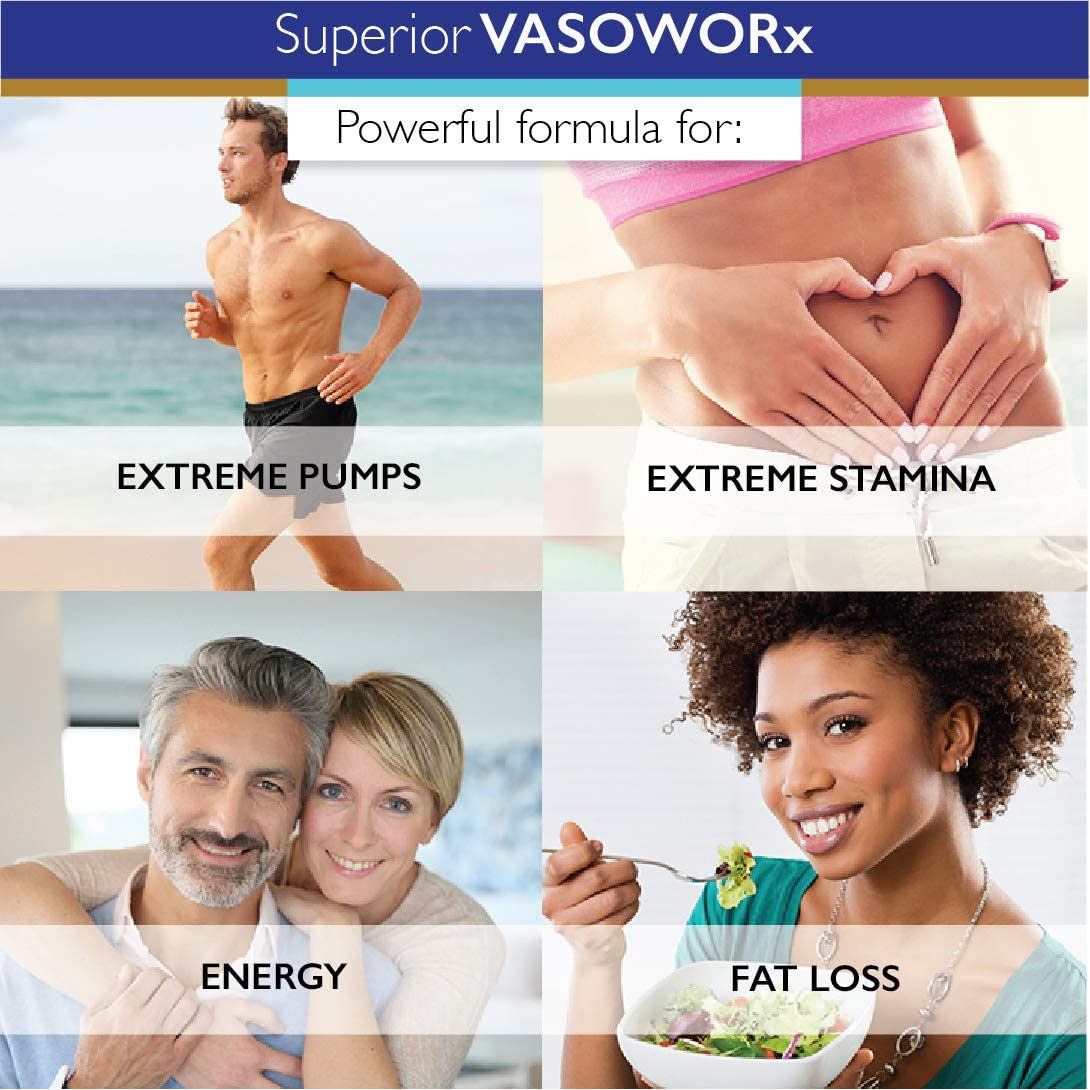 Superior Labs – VASOWORx® – Nitric Oxide Supplement – Extra Strength - 1,600 mg, 180 Vegetable Capsules – 7 Powerful Ingredients – Increased Energy, Stamina, & Circulatory Support: Health & Personal Care