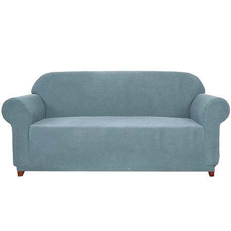 subrtex - Funda de sofá Extensible con reposabrazos elástico para protección de sofá, Azul Claro, 2 plazas