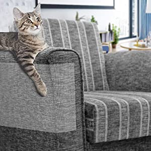 FOCUSPET Furniture Protectors from Cats, Cat Scratch Deterrent Sheet | Double-Sided Training Tape an-ti Pet Scratch for Couch Furniture Protector 6Pcs/10Pcs, 17