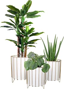 Floor Standing Planters with Metal Wire Base, White Metal Plant Pot Gold Planter Stand, Large Floor Standing Plant Pots Plack of 3 (White)