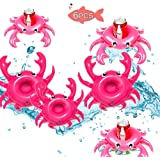 Brave Hours 6 Pack Drink Floats Cute Animal Pool Drink Holder Set Reusable Inflatable Float Cup Coasters for Summer Pool Party,6 Pieces.(Crab)