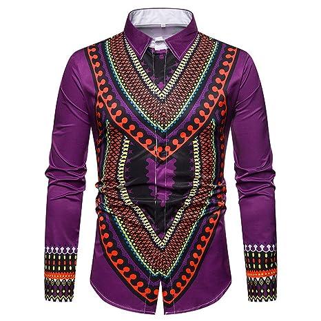 Cvbndfe Camisa de Vestir para Hombre Traje con Estampado ...