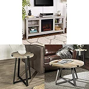 Walker Edison Furniture Company Farmhouse TV Stand Console with WE Furniture Round Metal Side End Accent Table, 18 Inch and Round Metal Coffee Accent Table, 30 Inch, Grey, Black