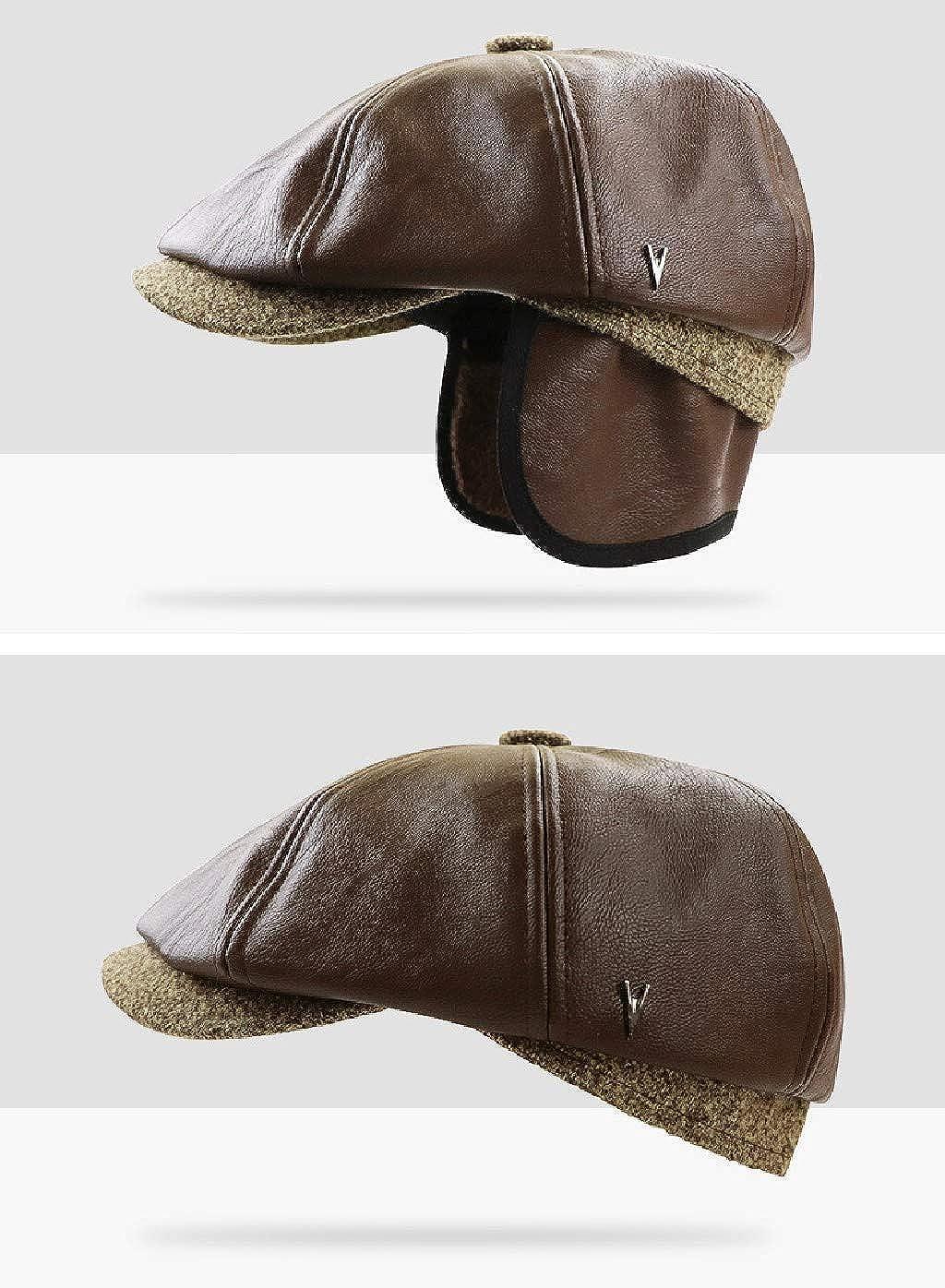 Mens Faux Leather Winter Classic Earmuff Earlfap Newsboy Beanie Beret Visor Cap Hat