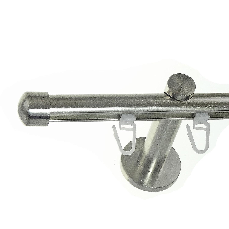 BASIT® Innenlauf Gardinenstange Edelstahl Look 16mm Wandträger 1-läufig modern mit Kappe H70 E17, Länge 540 cm