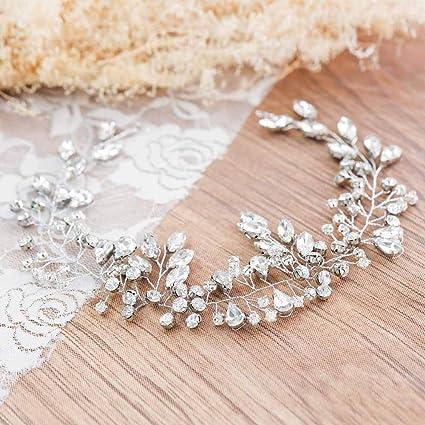 Jovono matrimonio sposa con testa accessori capelli Vines con strass per le  donne 1dcb52f2868c