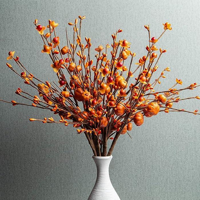 JINGHONG 6PCS Artificial Berry Stems,Orange Pumpkin Stems Berry Spray Picks Autumn Celebration Stems for Fall Thanksgiving Harvest Festival Decor(Orange)