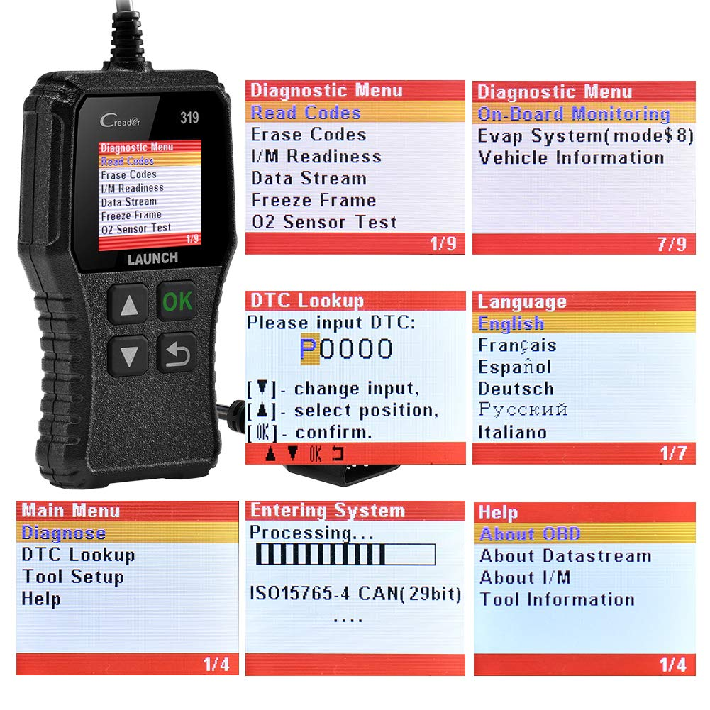 LAUNCH CR319 Code Reader Automotive Engine Light Check OBD2 Scanner,CAN Diagnostic Scan Tool with Full OBD II Functions (CR319) by LAUNCH (Image #6)