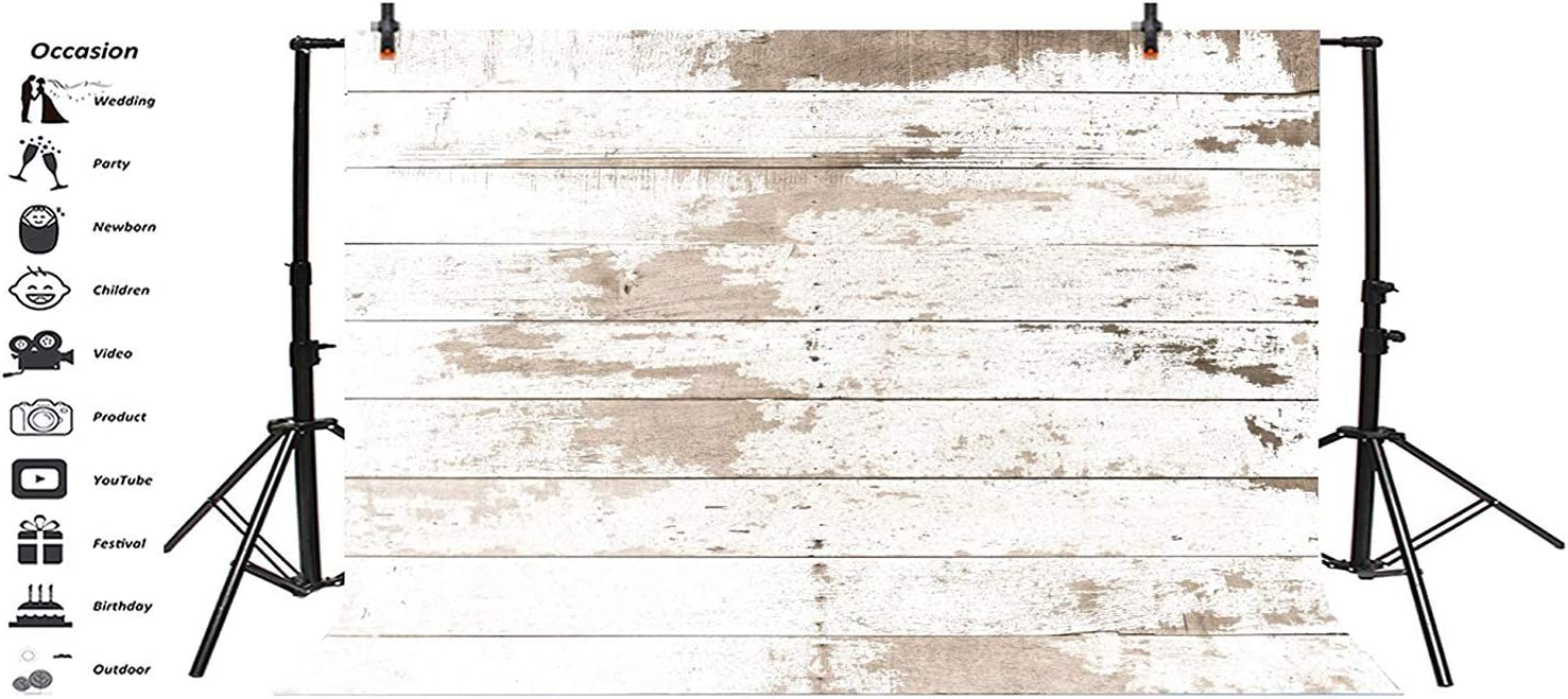 Polyester 8x6ft Grunge Mottled White Lateral-Cut Wood Plank Photography Background Rustic Old Wooden Board Backdrop Children Adult Pets Artistic Portrait Shoot Wallpaper Studio