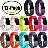 GEAK Fitbit Charge 2 Bands 12-Pack, Classic Special Edition Sports Replacement Bands for Fitbit Charge 2, Large and Small