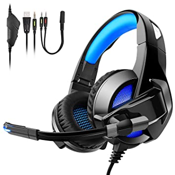 Auriculares Gaming para PS4, PC, Xbox One, Cómodos Cascos Gaming plegables con luces