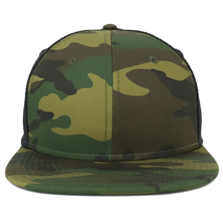 d8f51909 Armycrew Oversize XXL Blank Camouflage Flatbill Mesh Snapback Cap