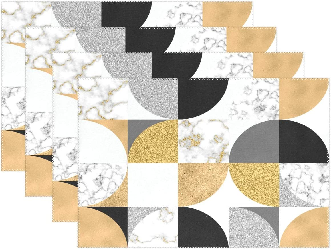 visesunny Gold Black White Marble Placemat Table Mat Desktop Decoration Placemats Set of 4 Non Slip Stain Heat Resistant for Dining Home Kitchen Indoor 12x18 in
