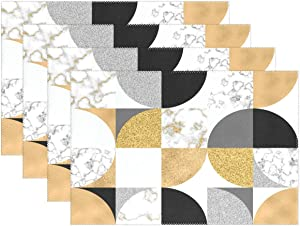 visesunny Gold Black White Marble Placemat Table Mat Desktop Decoration Placemats Set of 6 Non Slip Stain Heat Resistant for Dining Home Kitchen Indoor 12x18 in