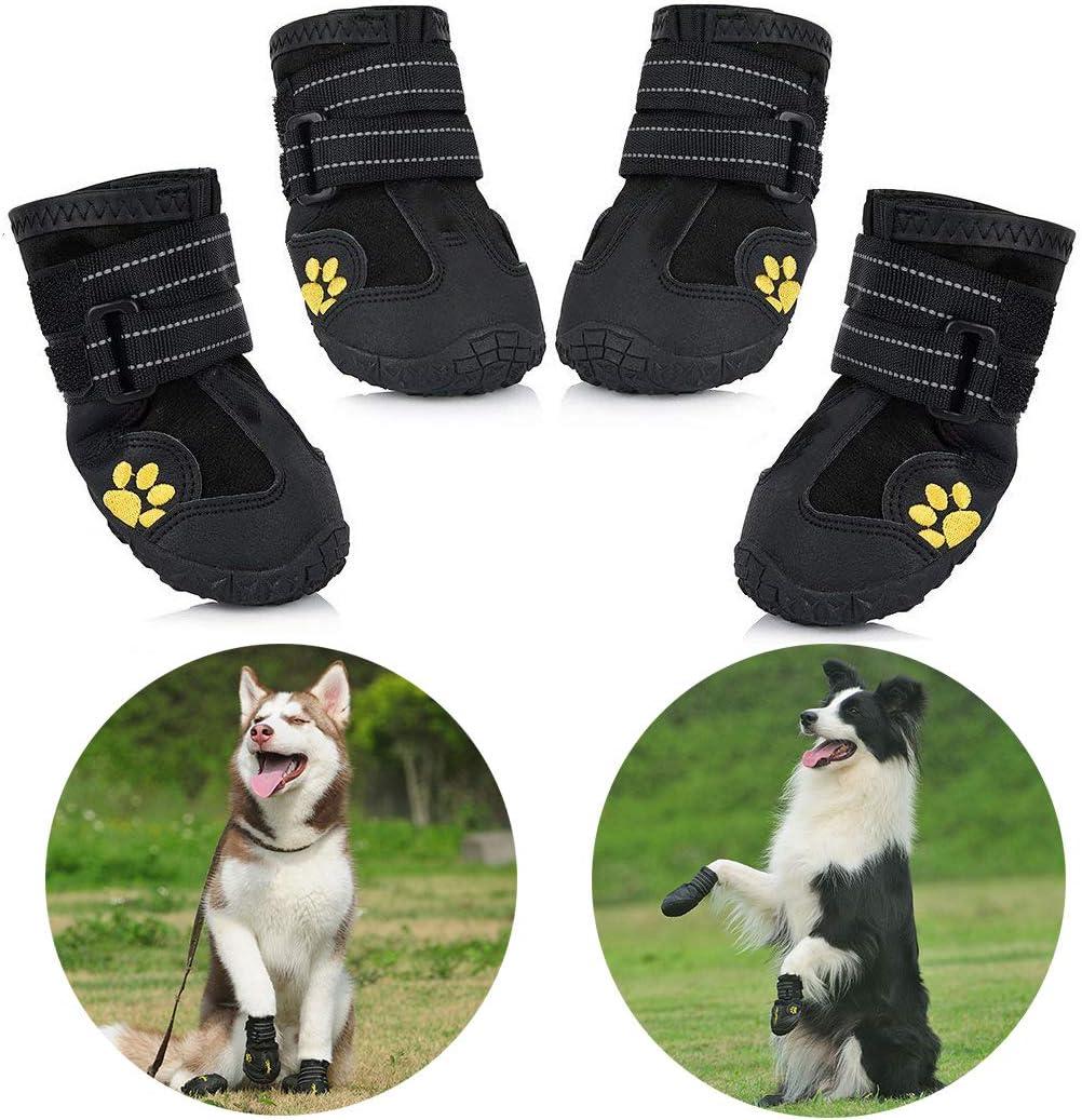 Zapatos para Perros, 4 Pcs Impermeable Zapatos Perro para Mediano y Grandes Perros - Negro (4#)
