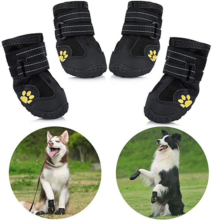 Zapatos para Perros, 4 Pcs Impermeable Zapatos Perro para Mediano ...