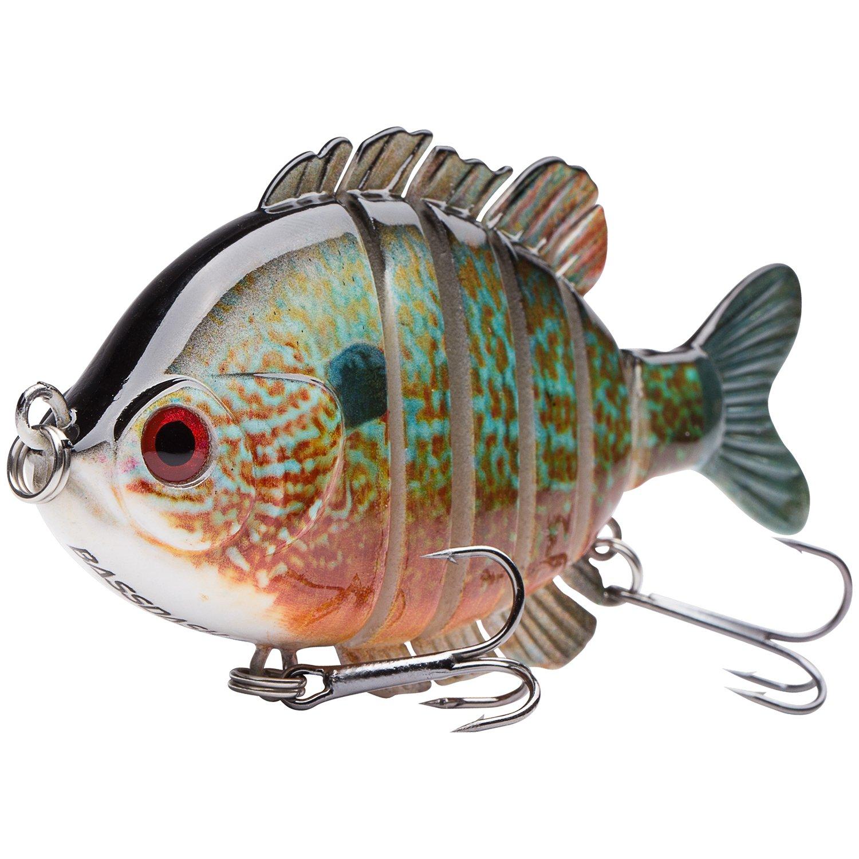 Bassdash SwimPanfish Multi Jointed Panfish Bluegill Swimbaits Topwater Hard Bass Fishing Crank Lure 3.5in/0.85oz (Longear Sunfish) by Bassdash