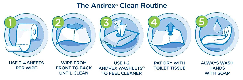 Andrex Washlets Gentle Clean Toallitas De Papel Higiénico - 12 Paquetes De Toallitas (42 Por Paquete, 504 Toallitas Totales): Amazon.es: Salud y cuidado ...