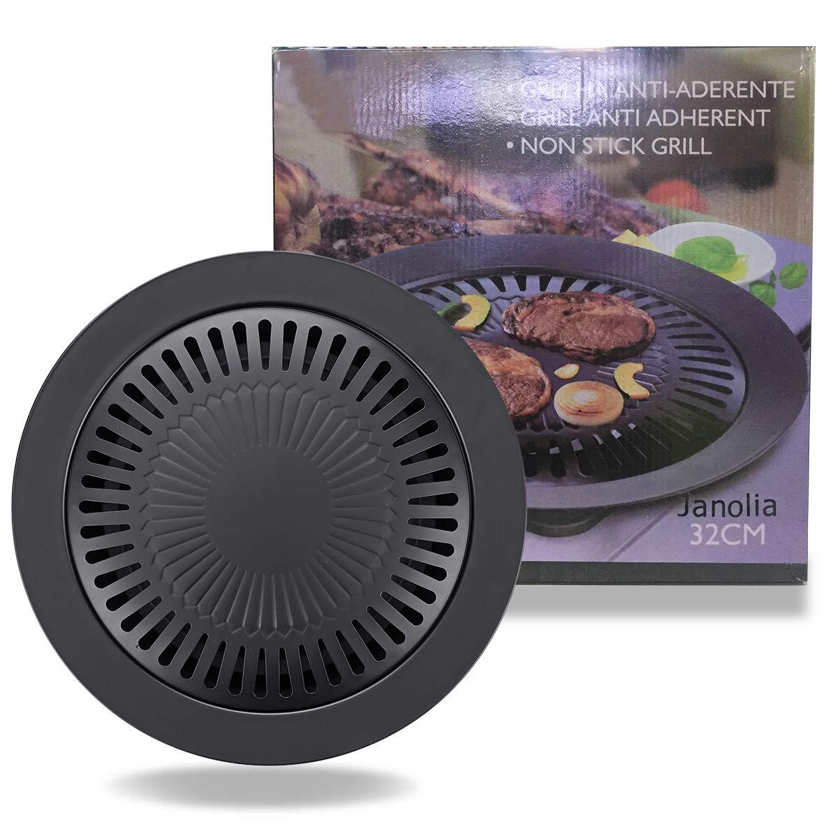 Janolia Korean Stovetop Stainless Steel Non-Stick Smokeless Roasting Round Pan