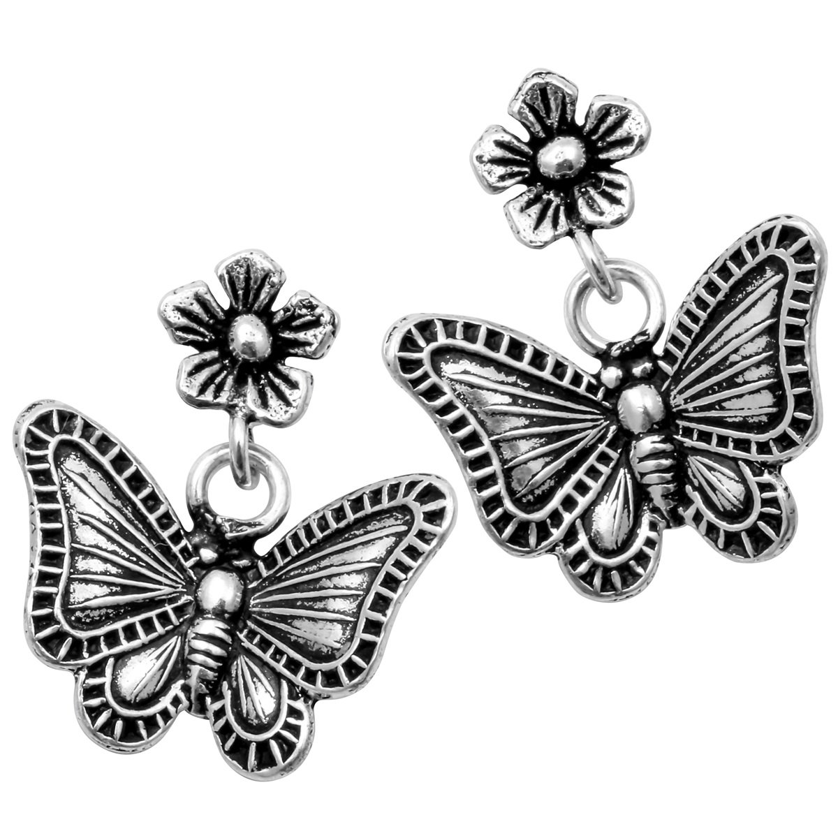 YACQ Jewelry 925 Sterling Silver Butterfly Wings Flower Earrings for Women Teen Girls CE02