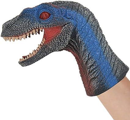 Dilophosaurus Head Gloves Hand Puppets Kids Role Play Gift Dinosaur Toys T-Rex