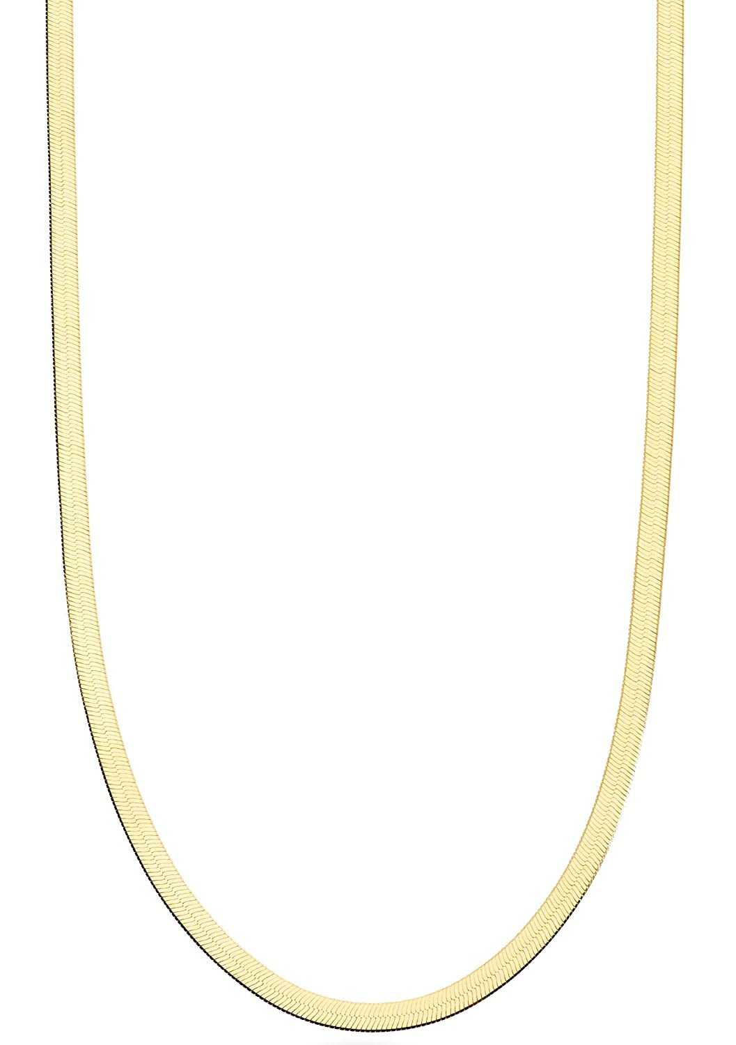 20 26 30 Inch Made in Italy 24 22 18 Miabella 18K Gold Over Sterling Silver Italian Solid 3.5mm Flexible Flat Herringbone Chain Necklace for Women Men 16