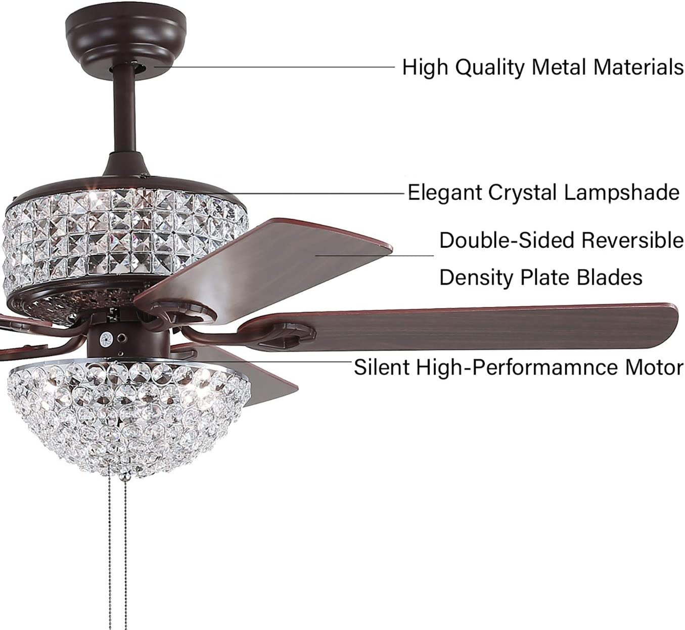 Ceiling Fan With Light Dual Crystal 6 Lamp 52 Lighted 5 PCS Walnut Blades Luxury Ceiling Fan,Pull Chain Control