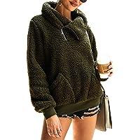 KIRUNDO 2019 Women's Winter Lapel Sweatshirt Faux Shearling Shaggy Warm Pullover Zipped Up with Pockets Tops
