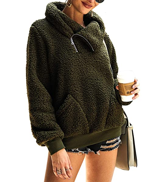 reputable site fd72d 192b3 KIRUNDO 2019 Women's Winter Lapel Sweatshirt Faux Shearling Shaggy Warm  Leopard Pullover Zipped Up with Pockets Outwear