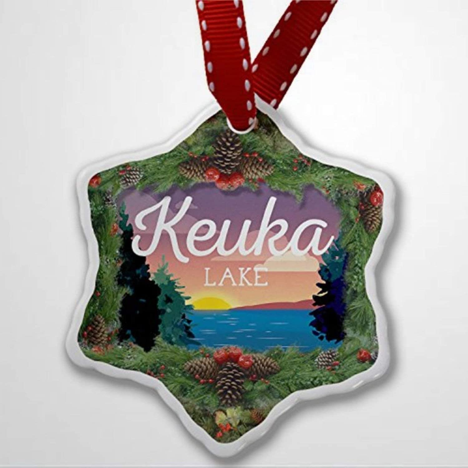 BYRON HOYLE Christmas Ornament Lake Retro Design Keuka Lake Christmas Ornaments Pandemic Xmas Decor Wedding Ornament Holiday Present