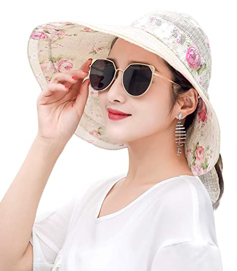 f63550313bc RIONA Women s Summer Sun Hat Foldable Visor Wide Brim Adjustable Nylon  Buckle Packable UV Protection (