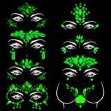 Meredmore 8Sets Noctilucent Face Gems Body Stickers Glow in the Dark Luminous Face Jewels fluorescent face tattoo crystals rh